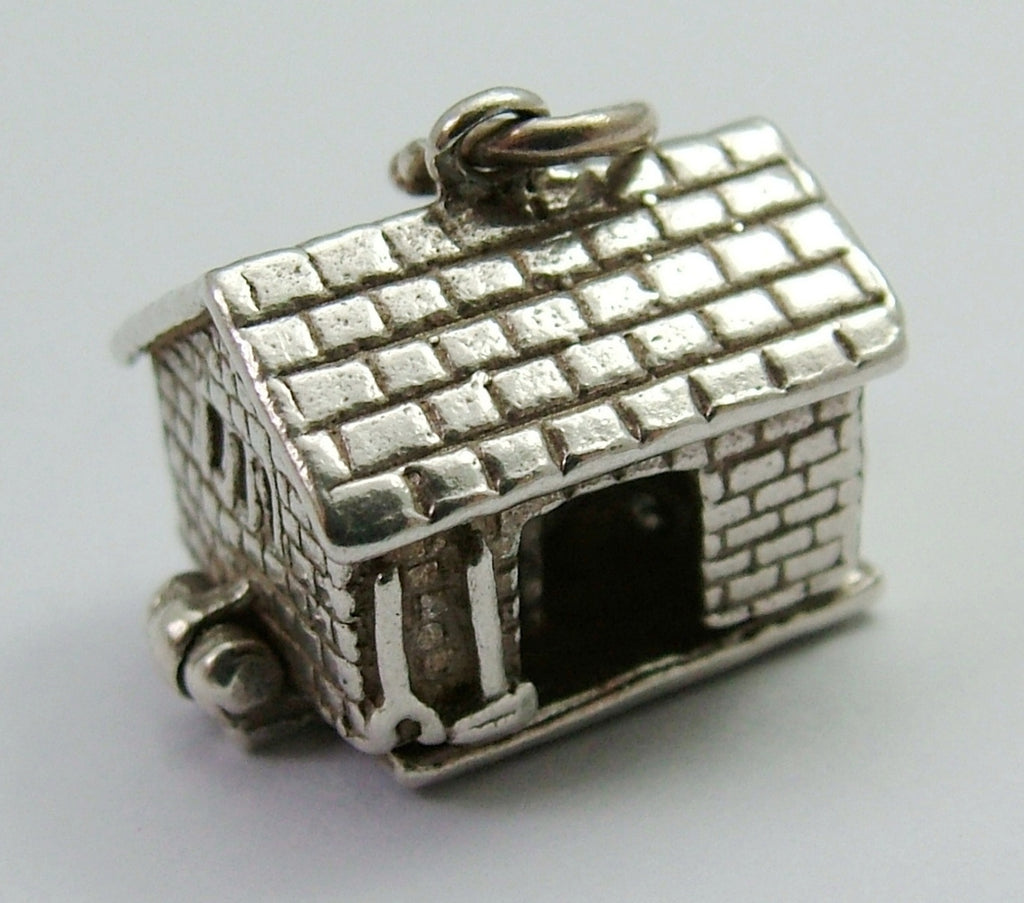 Vintage 1960's Silver Nuvo Barn Charm Opens to Cow being Milked Inside Nuvo Charm - Sandy's Vintage Charms