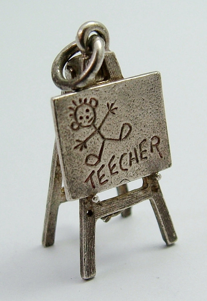 Vintage 1970's Silver Nuvo School Blackboard Charm Opens to Stand Up Nuvo Charm - Sandy's Vintage Charms