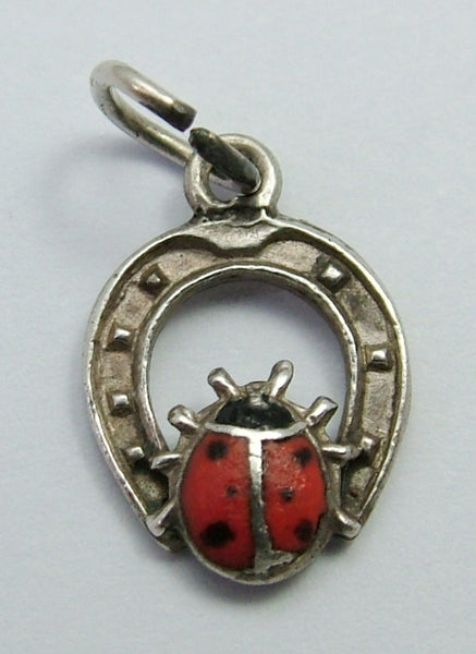 Small 1950's Silver & Enamel Lucky Horseshoe & Ladybird Charm Enamel Charm - Sandy's Vintage Charms