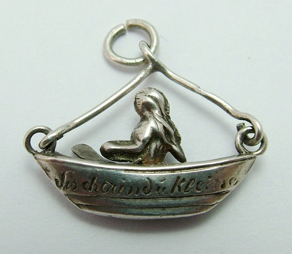 "Antique Edwardian c1910 Silver Hollow ""Fisherman's Little One"" Child in Boat Charm Antique Charm - Sandy's Vintage Charms"