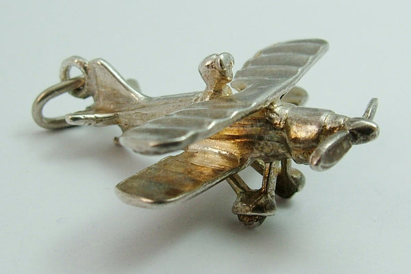 Large Vintage 1970's Silver Biplane Charm Silver Charm - Sandy's Vintage Charms