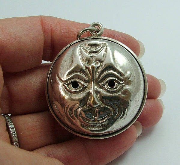 Large Vintage 1920's Silver Plated Man in the Moon Rattle Pendant 1920s-1950s Charm - Sandy's Vintage Charms
