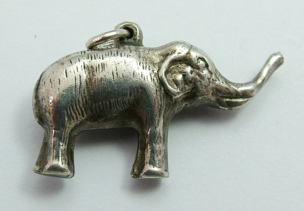 Antique Edwardian c1910 Hollow Silver Plated Elephant Charm Antique Charm - Sandy's Vintage Charms