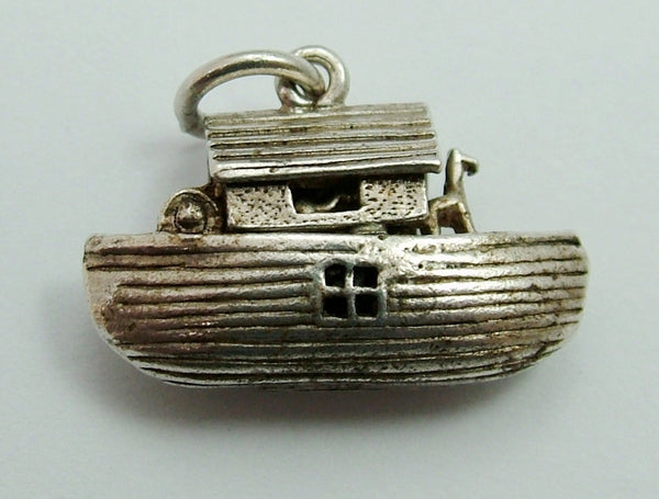 Vintage 1960's Silver Opening Noah's Ark Charm Animals Inside Silver Charm - Sandy's Vintage Charms