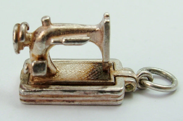Vintage 1970's Silver Opening Sewing Machine Charm with Scissors Inside Silver Charm - Sandy's Vintage Charms