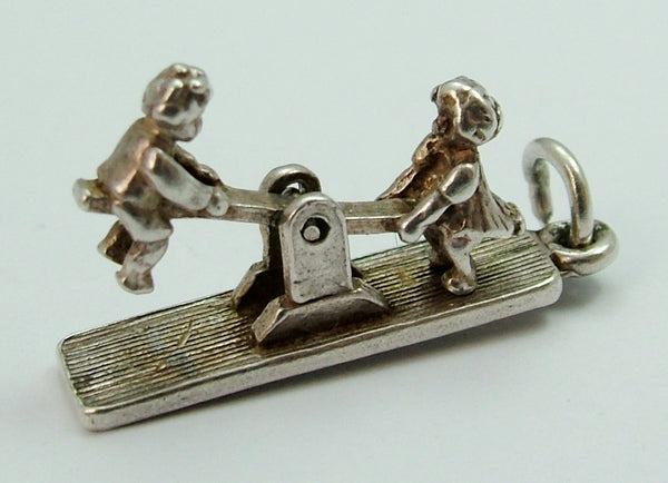 Vintage 1960's Silver Moving Children on a Seesaw Charm Silver Charm - Sandy's Vintage Charms