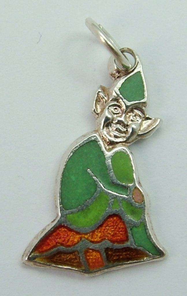 Vintage 1960's Silver & Green Enamel Pixie on a Toadstool Charm Enamel Charm - Sandy's Vintage Charms