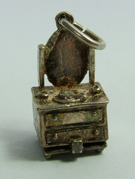 1960's Silver Opening Nuvo Dressing Table Charm Tortoise Inside Nuvo Charm - Sandy's Vintage Charms