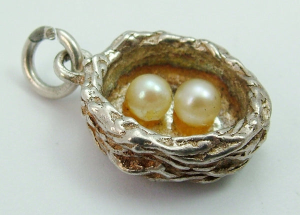 Vintage 1970's Silver Nest Charm with Faux Pearl Eggs Inside Silver Charm - Sandy's Vintage Charms