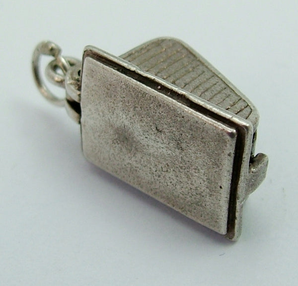 Vintage 1970's Silver Cheese Dish Charm with Brown Painted Mouse Inside Silver Charm - Sandy's Vintage Charms