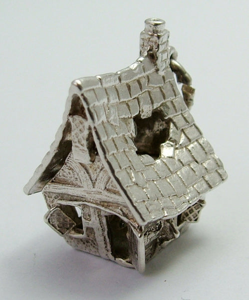 Large Vintage 1970's Silver Opening Nuvo Haunted House Charm White Enamel Ghost Inside Nuvo Charm - Sandy's Vintage Charms