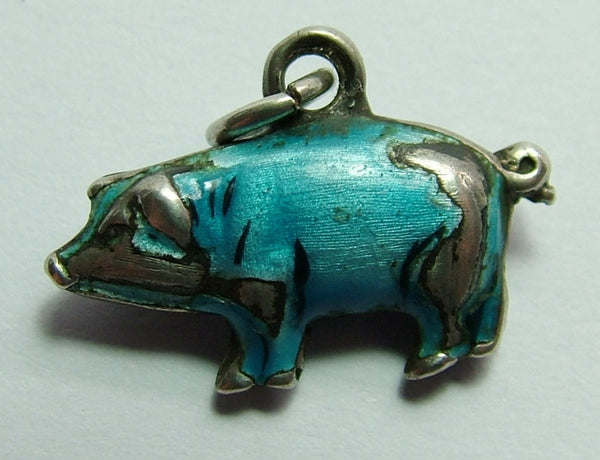 Edwardian Silver & Blue Enamel Puffed Pig Charm Antique Charm - Sandy's Vintage Charms