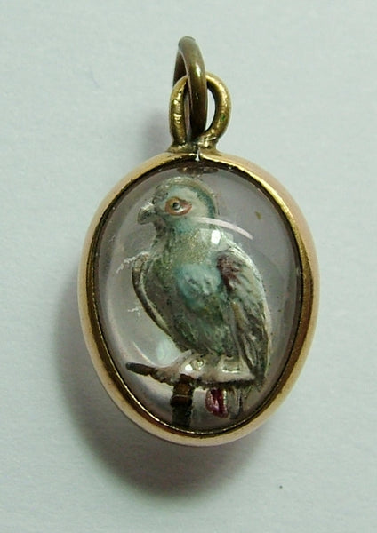 Antique Edwardian Rose Gold Plated Glass Intaglio Egg Charm with Blue Parrot Antique Charm - Sandy's Vintage Charms