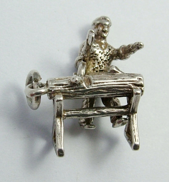 Vintage 1960's Silver Charm of a Woodcutter with Moving Axe Silver Charm - Sandy's Vintage Charms