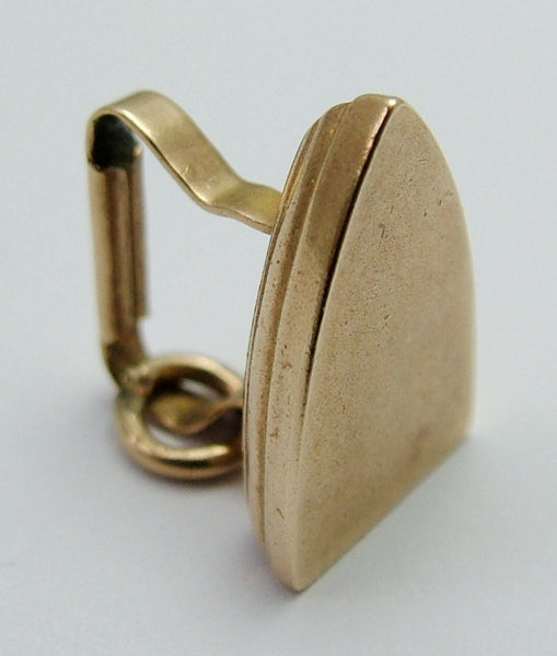 Vintage 1950's 9ct Gold Puffed Flat Iron Charm Gold Charm - Sandy's Vintage Charms