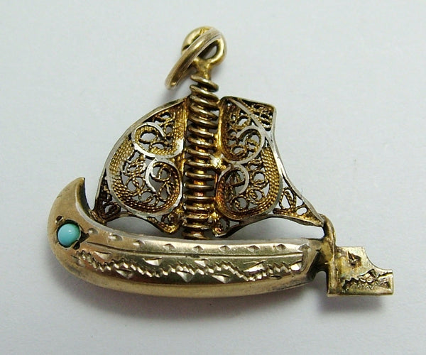 Vintage 1930's Portuguese Silver Gilt Filigree & Turquoise Glass Sailing Boat Charm 1920s-1950s Charm - Sandy's Vintage Charms