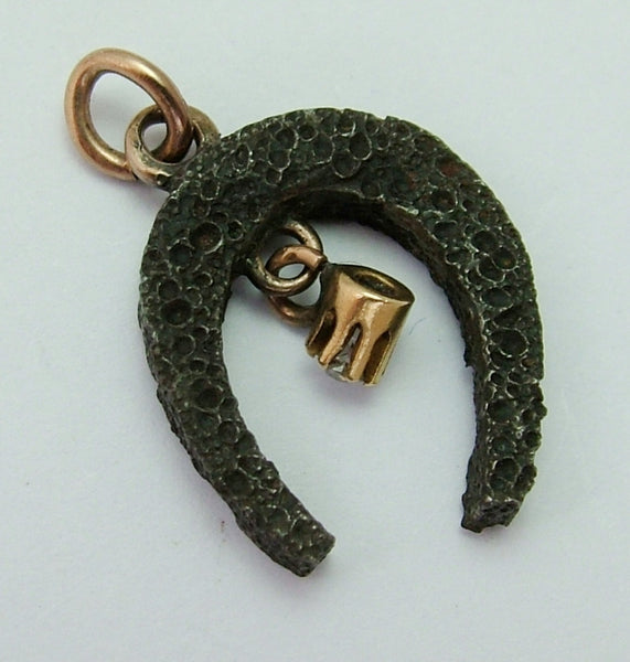 Vintage 1930's Iron & 9ct Gold Lucky Horseshoe Charm With Diamond Dangle Gold Charm - Sandy's Vintage Charms