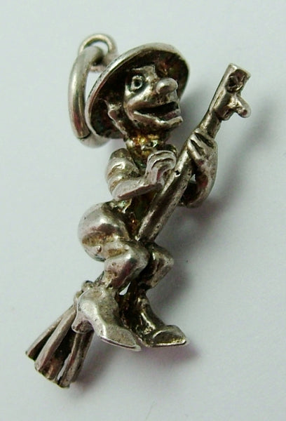 Vintage 1980's Solid Silver Witch on a Broomstick Charm Silver Charm - Sandy's Vintage Charms