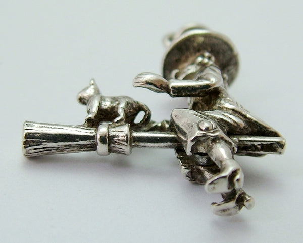 Vintage 1970's Solid Silver Moving Witch on a Broomstick Charm Silver Charm - Sandy's Vintage Charms