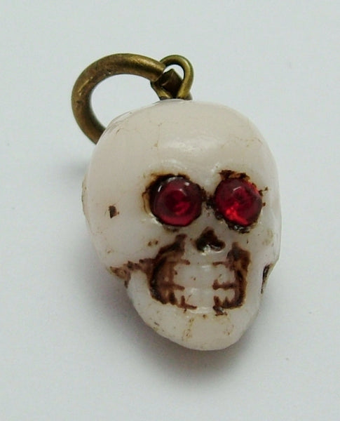 Vintage 1920's White Czech Glass Skull Charm with Red Paste Eyes 1920s-1950s Charm - Sandy's Vintage Charms