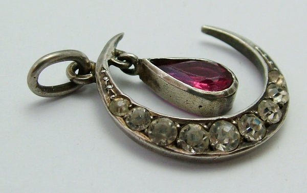 Vintage 1920's/30's Silver Paste Set Crescent Moon Charm or Pendant with Faux Ruby Drop 1920s-1950s Charm - Sandy's Vintage Charms