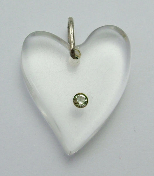 Chunky Vintage 1950's Clear Lucite Witches Heart Charm 1920s-1950s Charm - Sandy's Vintage Charms