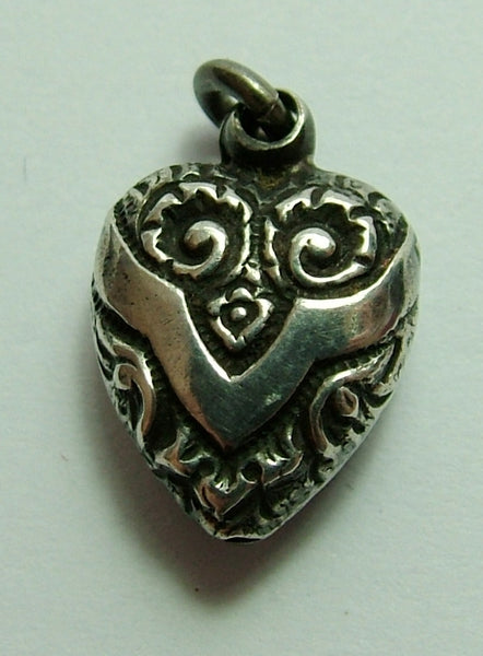 Victorian Silver Puffy Heart Charm with Repousse Decoration Antique Charm - Sandy's Vintage Charms