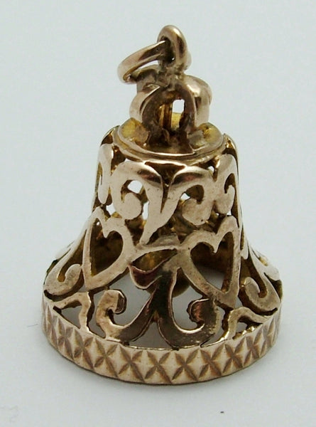 Large Vintage 1960's 9ct Gold Filigree Bell Charm with Moving Clanger Gold Charm - Sandy's Vintage Charms