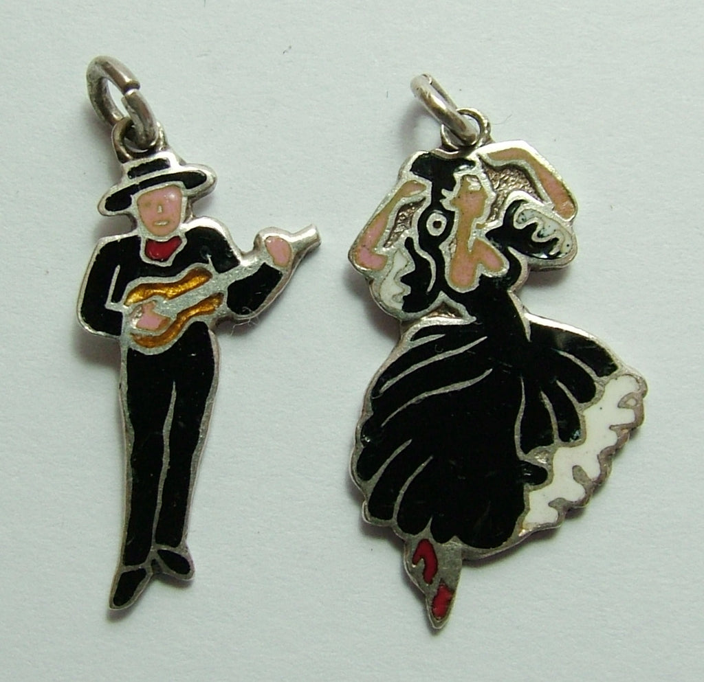 Pair of 1960's Silver & Enamel Spanish Charms Dancer & Guitarist Enamel Charm - Sandy's Vintage Charms