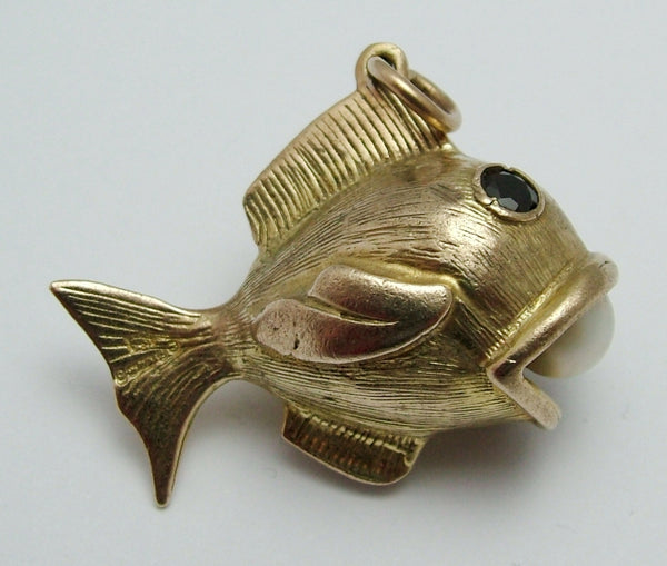 Large Vintage 1960's 9ct Gold Fish Charm With Pearl in Mouth & Garnet Set Eyes Gold Charm - Sandy's Vintage Charms
