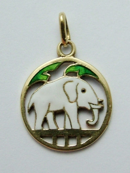 Vintage 1930's 14ct 14k Gold & Enamel Double Sided Elephant Charm Gold Charm - Sandy's Vintage Charms