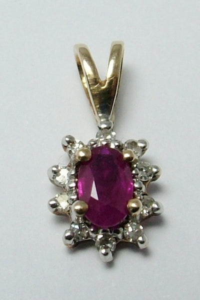Small Vintage 1980's 9ct Gold, Ruby & Diamond Charm or Pendant Gold Charm - Sandy's Vintage Charms