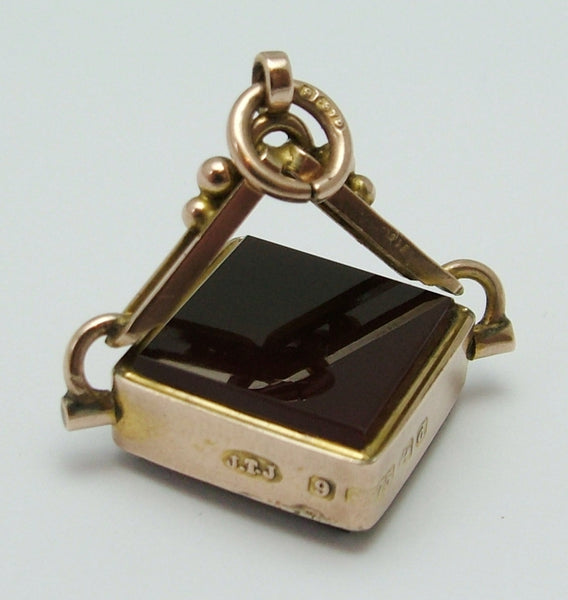 Antique Edwardian 9ct Gold & Agate Square Swivel or Spinning Fob Charm HM 1903 Antique Charm - Sandy's Vintage Charms