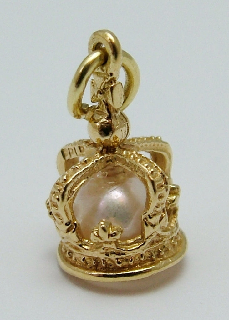 Small Vintage 1970's/80's 18ct 18k Gold Crown & Real Pearl Charm Gold Charm - Sandy's Vintage Charms