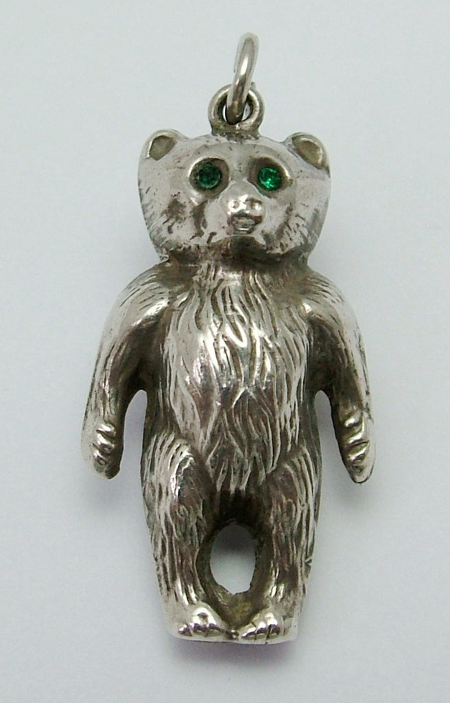 Antique Edwardian Double Sided Silver Puffed Bear Charm HM 1909 with Paste Eyes on Both Sides Antique Charm - Sandy's Vintage Charms