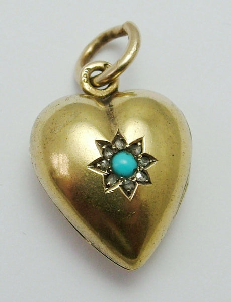 Large Victorian 15ct Gold, Diamond & Turquoise Puffy Heart Locket Charm