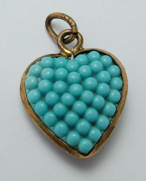 Antique Edwardian Brass & Turquoise Blue Czech Glass Berry Heart Charm Antique Charm - Sandy's Vintage Charms