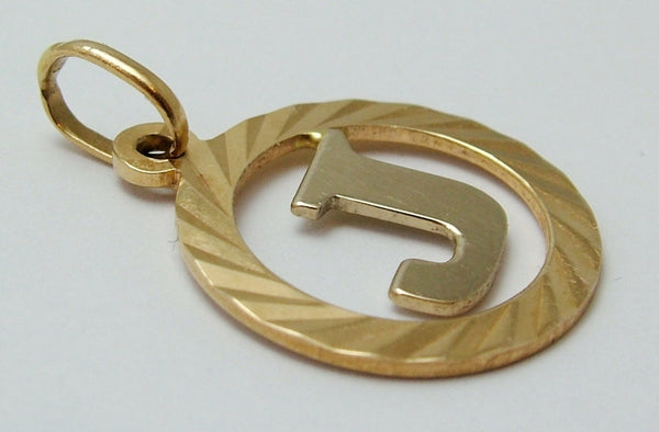 "Vintage 1970's Solid Two Colour 18ct 18k Gold Letter ""J"" Disc Charm Gold Charm - Sandy's Vintage Charms"