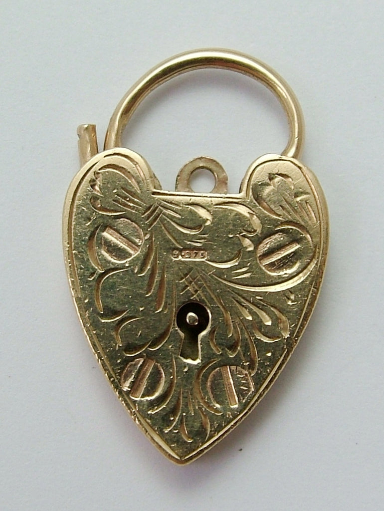 Large Vintage 1950's 9ct Yellow Gold Patterned Padlock Bracelet Fastener or Charm Gold Charm - Sandy's Vintage Charms