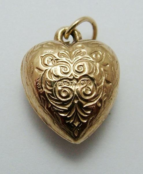 Small Vintage 1960's 9ct Gold Puffed Heart Charm Gold Charm - Sandy's Vintage Charms