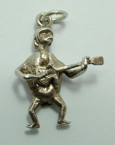 1960's Solid Silver Charm - Beetle Dressed as a Beatle with Guitar Silver Charm - Sandy's Vintage Charms