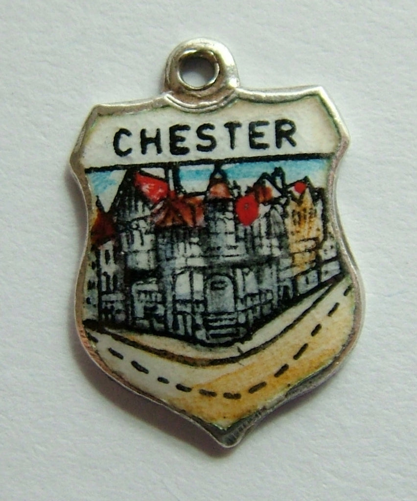 1960's Silver & Enamel Shield Charm for CHESTER Shield Charm - Sandy's Vintage Charms