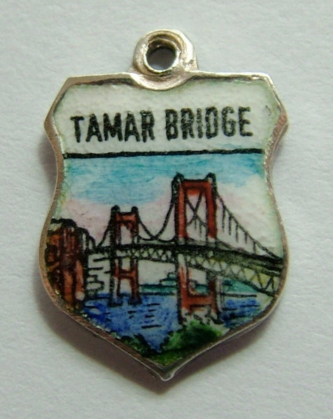 1960's Silver & Enamel Shield Charm for the TAMAR BRIDGE in Plymouth Shield Charm - Sandy's Vintage Charms