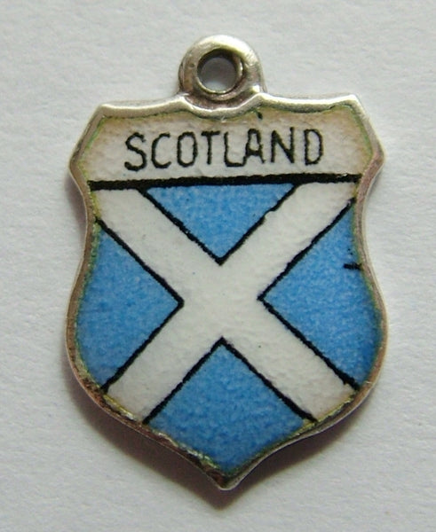 1960's Silver & Enamel Shield Charm for SCOTLAND Shield Charm - Sandy's Vintage Charms