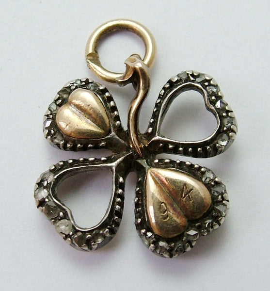 Antique Victorian C1894 15ct Gold, Silver & Diamond Lucky Four Leaf Clover Charm with Locket Back Antique Charm - Sandy's Vintage Charms