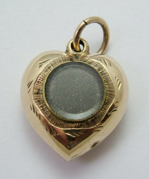 Antique Victorian 9ct Gold Plated Heart Charm with Locket Back Antique Charm - Sandy's Vintage Charms