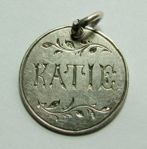 Victorian Silver Engraved Love Token Coin Charm KATIE Love Token - Sandy's Vintage Charms