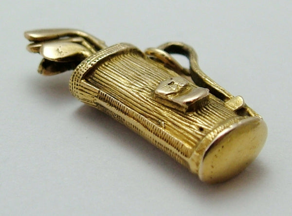 Vintage 1950's 9ct Gold Golf Bag Charm with Golf Clubs Inside Gold Charm - Sandy's Vintage Charms
