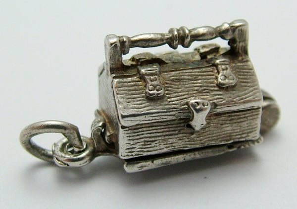 Vintage 1970's Silver Opening Tool Box Charm Spanner & Saw Inside by CHIM Silver Charm - Sandy's Vintage Charms