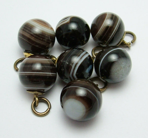 Antique Victorian c1900 Gilt Brass & Banded Agate Button Charms x 7 Antique Charm - Sandy's Vintage Charms